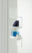 White Corner Triple Drawer Shelves Wood Home Accent 3 Display Wood