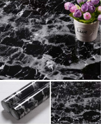 Faux Black Marble Contact Paper Self Adhesive Film Vinyl Granite Shelf Liner for Covering Counter Top Kitchen Cabinet