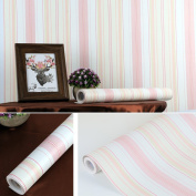 SimpleLife4U Pink Lines Self-Adhesive Shelf Liner Vinyl Contact Paper Refurbish Dresser Drawers Beauty Case 45cm By 3m