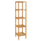 HOMFA Bamboo Bathroom Shelf 5-Tier Tower Free Standing Rack Multifunctional Storage Organiser