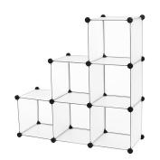 SONGMICS DIY Storage Cube Organiser Plastic Closet 6-Cube Bookcase White ULPC06W