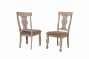 2 Tone Brown Wood Upholstered Dinette Dining Room Side Chairs