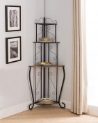 Black & Walnut Metal 3 Tier Corner Kitchen Bakers Rack Display Stand Organiser With Storage Shelves