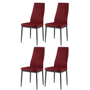 Red Metal Frame Fabric Kitchen & Dining Side Chairs
