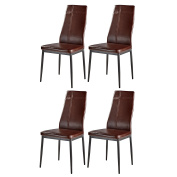Dark Brown Metal Frame Faux Leather Kitchen & Dining Side Chairs