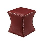 Nailhead Trim Upholstered Square Stool Ottoman