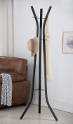 Black Metal 9 Hook Contemporary Coat & Hat Stand