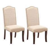 Cream White Nailhead-Trim Upholstered Dinette Dining Room Side Chairs