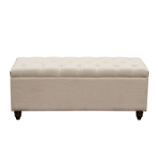 Tufted Lift-Top Storage Trunk