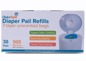 ChoiceRefill Nappy Pail Refill Bags (30 Bags, 900 Nappies) Compatible with All Munchkin Nappy Pails