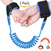 Darller 2 Pack Anti Lost Wrist Link, Safety Hook and loop Wrist Link Straps for Toddlers, Babies & Kids - 2.5m(blue) + 1.5m