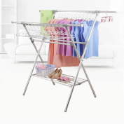 Floor folding double rod type indoor drying rack, balcony sun quilt frame, simple stretch drying rack