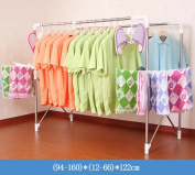 Floor double rod stainless steel telescopic folding clothes rack, drying racks, thickening sun drying clothes