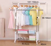 Drying racks, floor stretch stainless steel double rods indoor cool clothes racks balcony, hanging drying racks ( Size : (101-150)*40*