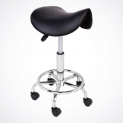 GotHobby Black Modern Salon Stool Saddle Chair Facial Tattoo Beauty PU Leather Hydraulic
