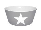 'Infinite by Geda Labels (Infkh 13983 Cereal Bowl' Stars/V Cup, Porcelain, Grey, 13.5 x 6 cm