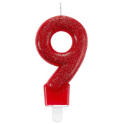 Amscan 9900770 7.6 cm Glitter Number 9 Birthday Candle