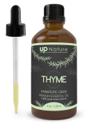 UpNature The Best Thyme Essential Oil 120ml - Pure Unrefined GMO Free Premium Quality - Relieve Sore Throats - For Face & Hair & Can Be Used Against Fungus
