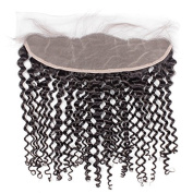 Bolin Hair Brazilian Hair Deep Wave Curly FullLace Frontal Closure 13x4 Free Part with Baby Hair Bleached Knots Natural Colour