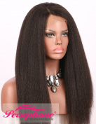 Persephone Italian Yaki Pre Plucked 360 Lace Frontal Wig With Baby Hairs Brazilian Remy Human Hair Wigs For Black Women 150 Density 46cm Natural Colour