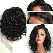 NiceToBuy Glueless Short Wavy Bob Haircut Front Lace Wig with Bangs Brazilian Virgin Human Hair Wigs for Women