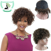 Rossy & Nancy Glueless Short Afro Curly Wig Brown Colour Brazilian Human Hair Wigs for Black Women with Free Part Bangs