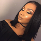 Natural Black Short Bob Synthetic Lace Front Wigs Straight Hair Glueless Wig Middle Part For Black Women Heat Resistant 30cm