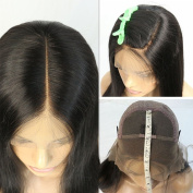 Joywigs Front 13cm Lace Front Wig Silky Straight 130% Density Deep Part 100 Human Hair Illusion Hairline Lace Front Wig 25cm Natural Colour