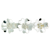 Large Clip Flower Hair Barrette, Silver Plated Alpaca