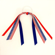 Patriotic 4th of July Flag Hair Ribbon, Made in the USA, white pony band, red & blue