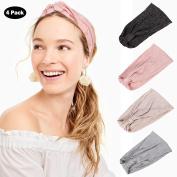 Turban Headband Women Head Wraps - AWAYTR 4PC Simple Style Solid Colour Elastic Headband Sports or Fashion, Yoga or Travel Hair Accessories
