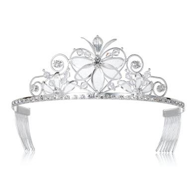 DcZeRong Princess Tiara Crown Prom Tiaras Crowns Silver Tiara Crown Women Tiaras Crowns Queen Tiara
