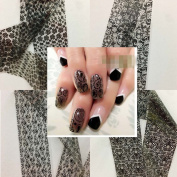 XICHEN Starry Sky Stars Nail Art Stickers Tips Wraps Foil Transfer Adhesive Glitters Acrylic DIY Decoration -16 Black lace models(4cm100cm)