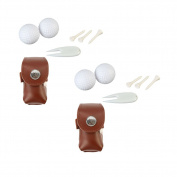 2 Sack Cowhide Golf Ball Bag Holder Clip Utility Pouch Waterproof Sports Golfing Accessories With Tees, Golf Balls and Divot Tool