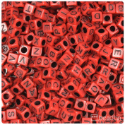 BEADTIN Dark Red Opaque w/Black Letters 6mm Cube Alphabet Beads A-Z Mix