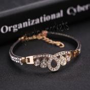 1# New Jewellery Fashion Cute Black Crystal Leather Cuff Bangle Bracelet Wristband