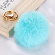 gold light blue - Rabbit Fur Ball PomPom Cell Phone Car Keychain Pendant Handbag Charm Key Ring