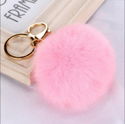 gold pink - Rabbit Fur Ball PomPom Cell Phone Car Keychain Pendant Handbag Charm Key Ring