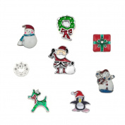 DemiJewelry 8 pcs Christmas Floating Charms For Glass Living Memory Lockets Necklace & Bracelets