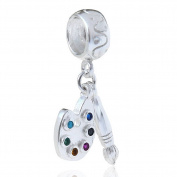 Paint Pallet and Brush Charm 925 Sterling Silver Beads Compatible For Most European Snake Chain Bracelets