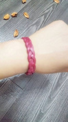 Braided leather bracelet cuff with metal snap closure. Fresh colours and natural tones. Genuine leather.