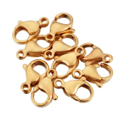 VALYRIA 10pcs Plated Gold Stainless Steel Glossy Lobster Clasps for Jewellery Making Findings 11mmx7.5mm