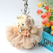 Free S & H flower hat plush bear pendant bag charm keychains keyring kids toy gift brown