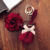 Lovely Rabbit Princess Flower Pendant Keychain Keyring Creative Gift Keyfob wine red colour
