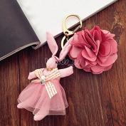 Lovely Rabbit Princess Flower Pendant Keychain Keyring Creative Gift Keyfob Lt Rose