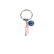 Colourful Plated Nature Crystal Stone keychain mermaid scale cute key ring light pink