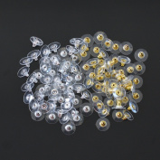 DEWKER 100 Pairs Bullet Clutch Pad Earring Safety Backs, 100 Pcs Silver and 100 Pcs Gold Backings Compatible with earrings & Substitutions for Earrings