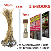 """CozYours 8"""" BEESWAX HEMP CANDLE WICKS WITH GLUE STICKS & CENTERING DEVICE, 50/5/1 pcs; ORGANIC & NATURAL; Thick Gauge 0.08"""" (2.0mm); 70 CANDLE MAKING HACKS + 291 DIY HOUSEHOLD HACKS E-BOOKS INCLUDED"""