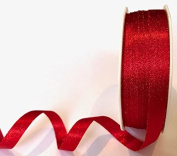 Red with Gold Sparkle Satin 10mm Ribbon by Bertie's Bows Ribbon on a 20m Roll