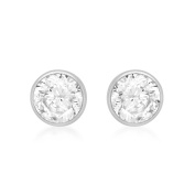 Carissima Gold White Gold 5mm Round Cubic Zirconia Stud Earrings